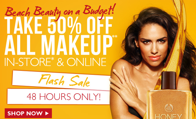 Beach Beauty on a Budget! TAKE 50% OFF ALL MAKEUP** IN-STORE* & ONLINE -- FLASH SALE -- 48 HOURS ONLY -- SHOP NOW