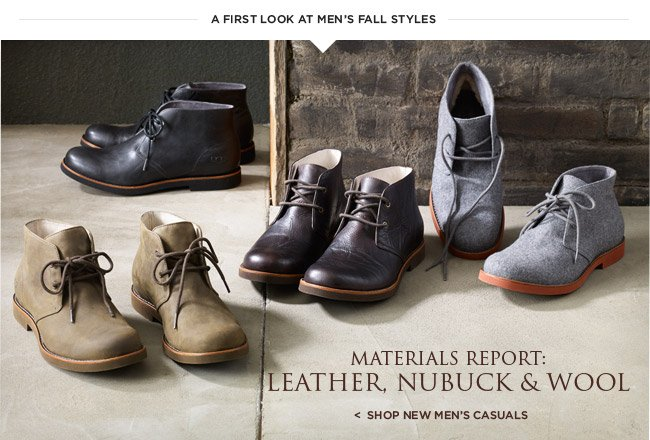 Materials Report: Leather, Nubuck, & Wool - Shop new men's casuals