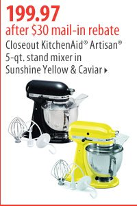 199.97 after $30 mail-in rebate. Closeout KitchenAid® Artisan® 5-qt. stand mixer in Sunshine Yellow and Caviar.
