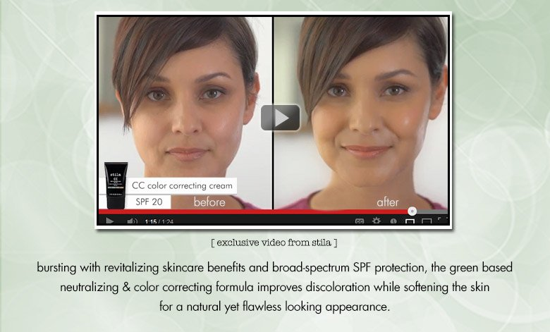 new video featuring stila CC color correcting cream