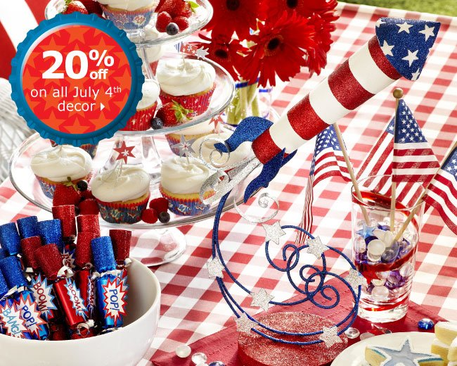 20% off on all July 4th decor