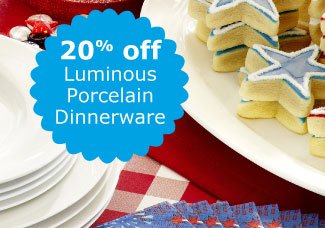 20% off Luminous Porcelain Dinnerware
