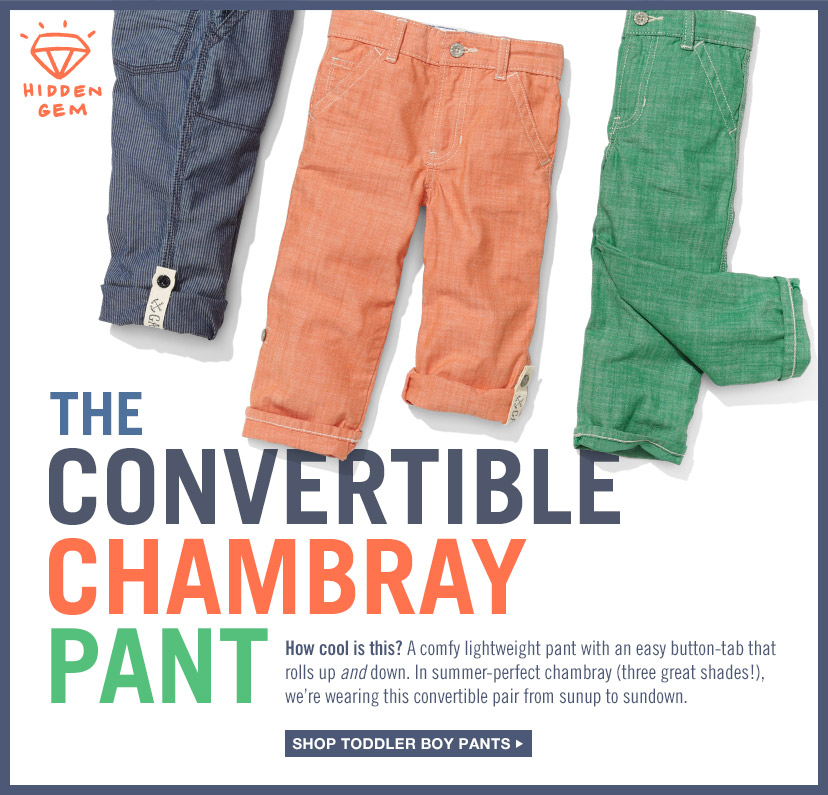 THE CONVERTIBLE CHAMBRAY PANT | SHOP TODDLER BOY PANTS