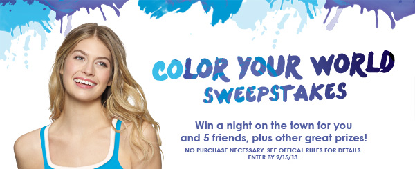 Color Your World Sweepstakes: Win a night on the town for you and 5 friends, plus other great prizes!