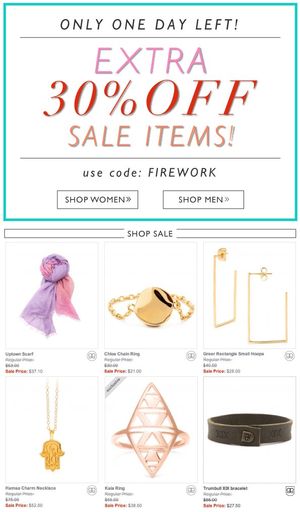 Only One Day Left! Extra 30% Off Sale Item