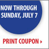 4th of July Sale - Now through Sunday, July 7. Save up to 60% off storewide! Plus, take up to an extra 30% off your sale price purchase** Print coupon.
