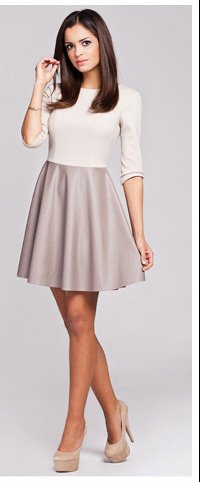 Two-Tone Contrasting Material Dress