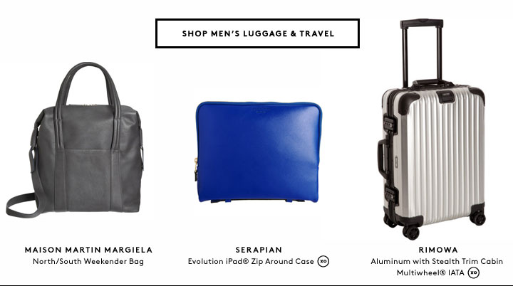 Take off in style with women's and men's travel accessories by Rimowa, Valextra, Balenciaga, and more.