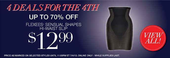 4 Deals for the 4th - Save Up to 70% Off: Flexees Sensual Shapes Hi-Waist Slip 12.99