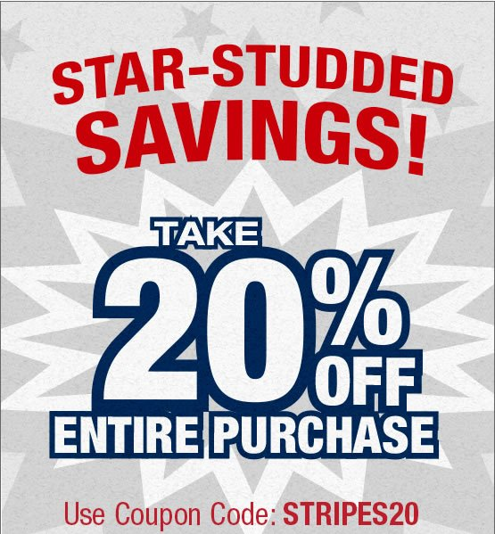 Star Studded Savings. Take 20% off entire purchase