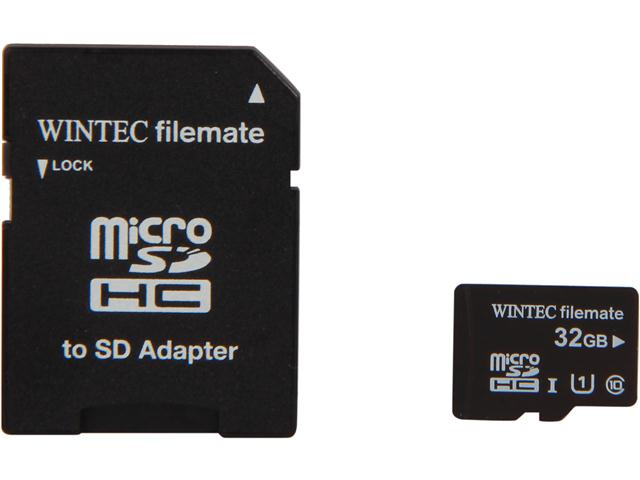 Wintec Filemate Professional Plus 32GB Micro SDHC Flash Card with Adapter Model 3FMUSD32GU1PI-R
