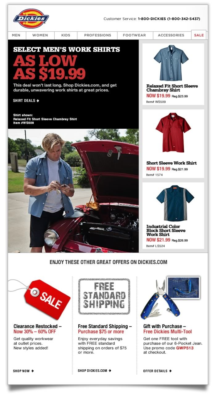 AS LOW AS $19.99 - Select Men's Work Shirts. This deal won't last long. Shop Dickies.com, and get durable, unwavering work shirts at great prices.