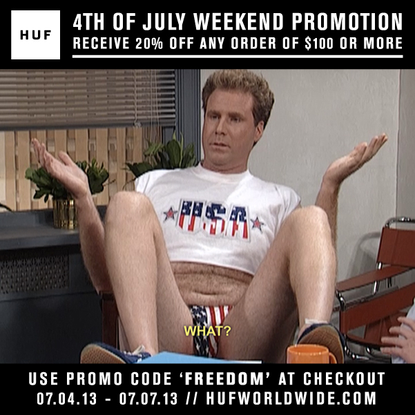HUF ONLINE STORE // 4TH OF JULY WEEKEND PROMOTION