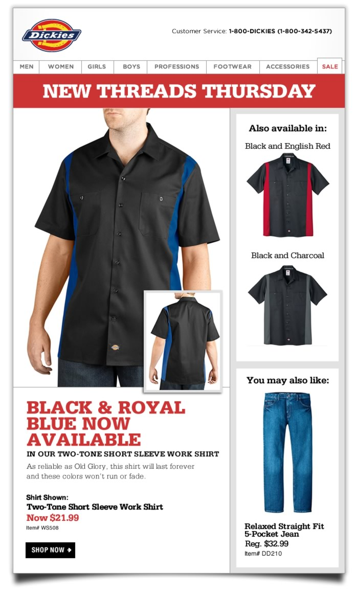 BLACK & ROYAL BLUE NOW AVAILABLE IN OUR TWO-TONE SHORT SLEEVE WORK SHIRT. As reliable as Old Glory, this shirt will last forever and these colors won't run or fade.