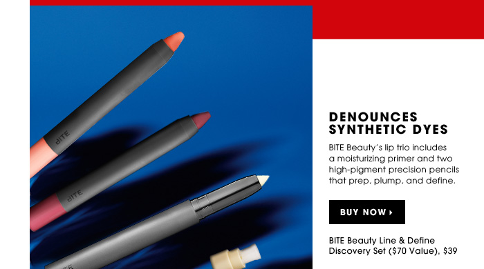 Denounces Synthetic Dyes. BITE Beauty's lip trio includes a moisturizing primer and two high-pigment precision pencils that prep, plump, and define. BITE Beauty Line & Define Discovery Set ($70 Value), $39