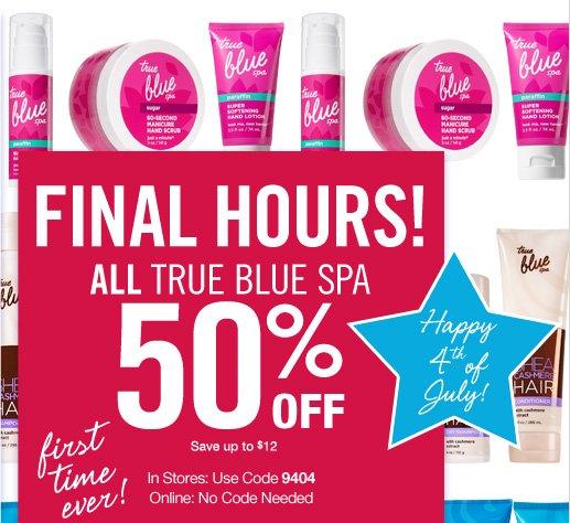All True Blue Spa – 50% Off