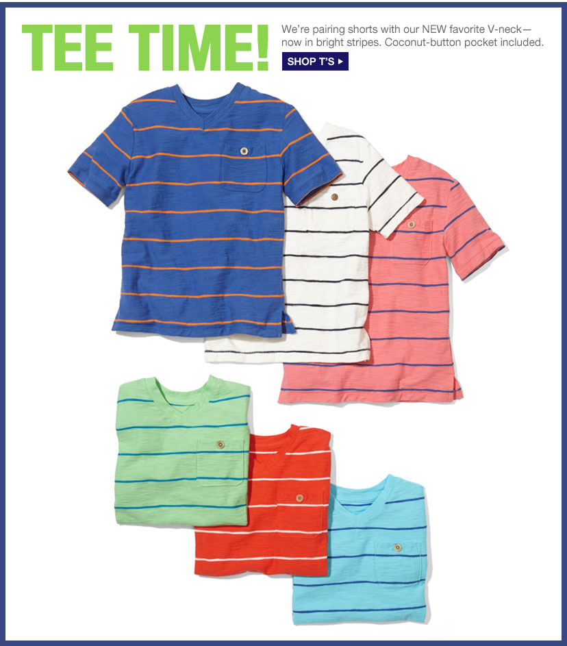 TEE TIME! | We're pairing shorts with our NEW favorite V-neck—now in bright stripes. Coconut-button pocket included. | SHOP T'S