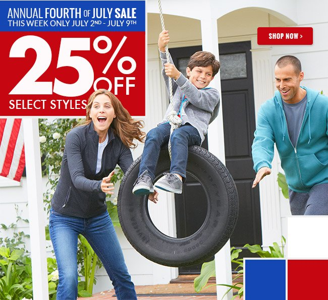 Annual Fourth of July Sale. This week only July 2-9. 25% off select styles.
