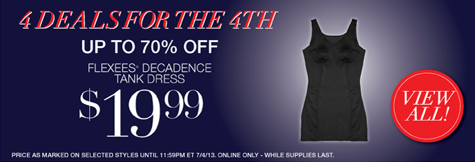 4 Deals for the 4th - Save Up to 70% Off: Flexees Decadence Tank Dress $19.99