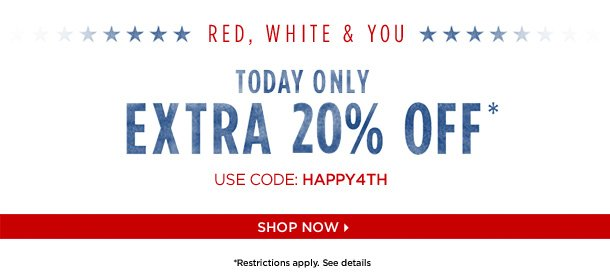 Today Only: Extra 20% Off