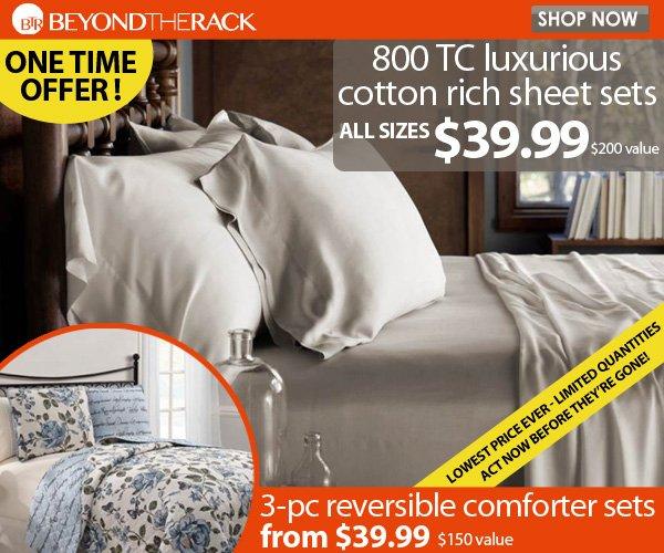 800 TC luxurious cotton rich sheet sets