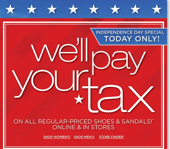 Shop online and in-stores today and we'll pay your tax on regular priced shoes and sandals during our Independence Day Special!* Plus, save on 100's of great styles for women and men from ECCO, Raffini, Dansko and more during our Holiday Savings! Shop now for the best selection at The Walking Company.