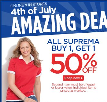 All Suprema Buy 1, Get 1 50% Off