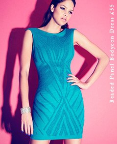 Beaded Panel Bodycon Dress