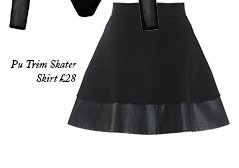 Pu Trim Skater Skirt