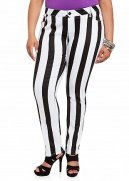 Black and White Striped Denim Jean