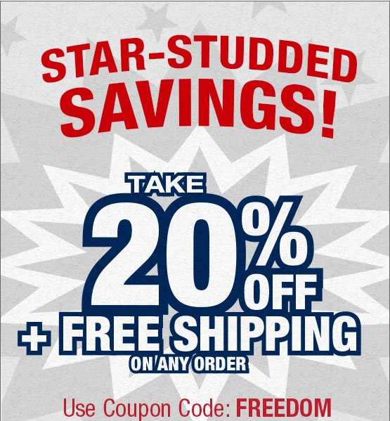 Star Studded Savings. 20% off plus Free Shipping on any order