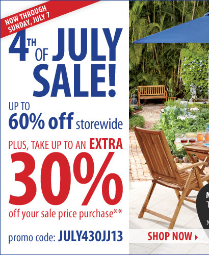 4th of July Sale - Now through Sunday, July 7. Save up to 60% off storewide! Plus, take up to an extra 30% off your sale price purchase** Shop now.