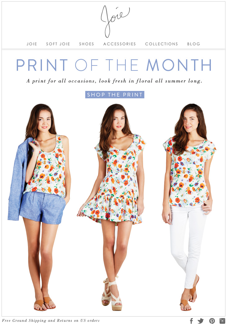PRINT OF THE MONTH A print for all occassions, look fresh in floral all summer long SHOP THE PRINT