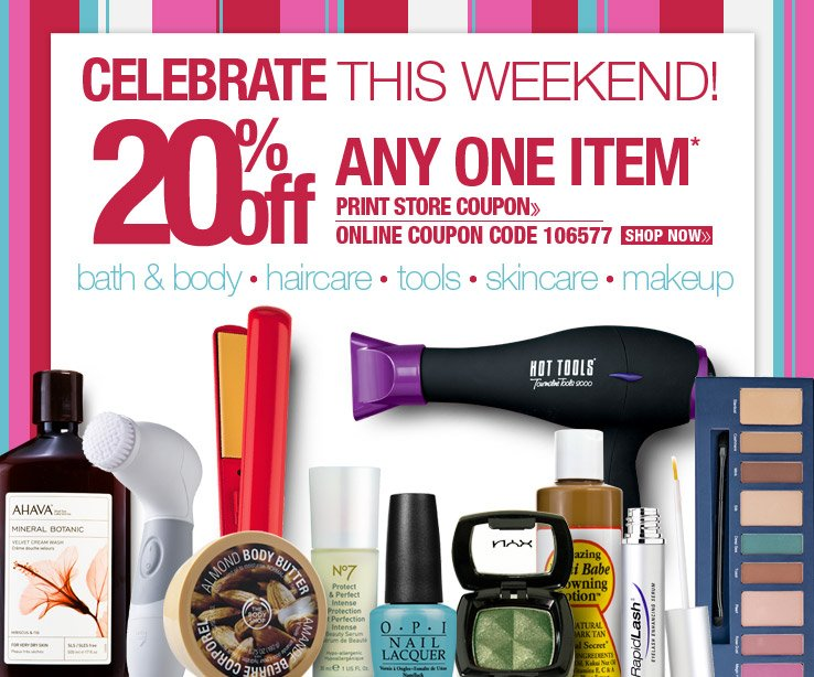 Celebrate This Weekend! 20% Off Any One Item.