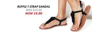 Ruffle T-Strap Sandal