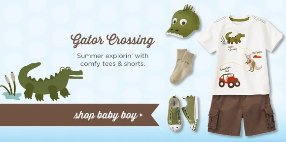 Gator Crossing. Summer explorin' with comfy tees & shorts. Shop Baby Boy