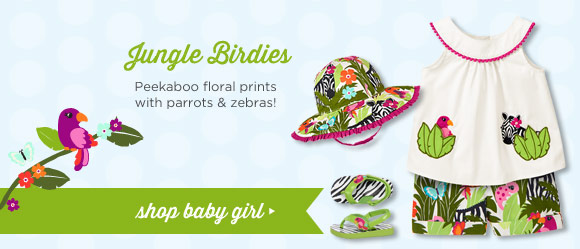 Jungle Birdies. Peekaboo floral prints with parrots & zebras! Shop Baby Girl