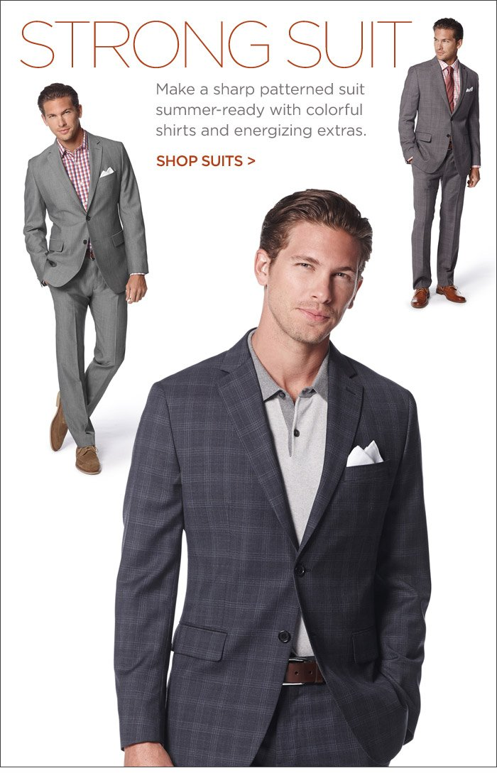 STRONG SUIT | Make a sharp patterned suit summer-ready with colorful shirts and energizing extras. SHOP SUITS