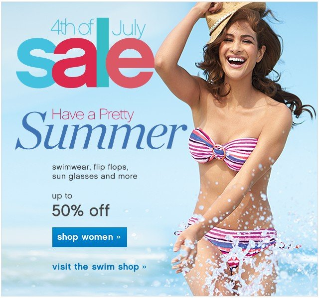 4th of July Sale. Up to 50% off. Shop women.