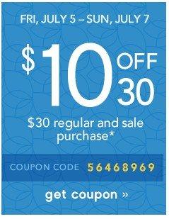 $10 off $30. Get coupon