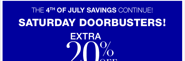 Save an EXTRA 20% until 2pm!