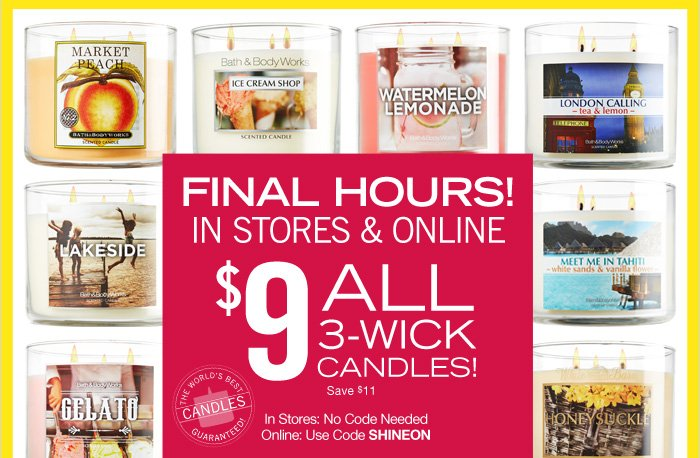 All 3-Wick Candles – $9