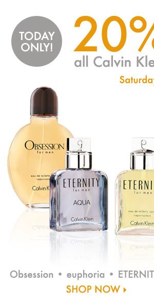 Today Only! 20% off all Calvin Klein fragrances* Shop now.