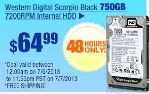 $64.99 -- Western Digital Scorpio Black 750GB 7200RPM Internal HDD