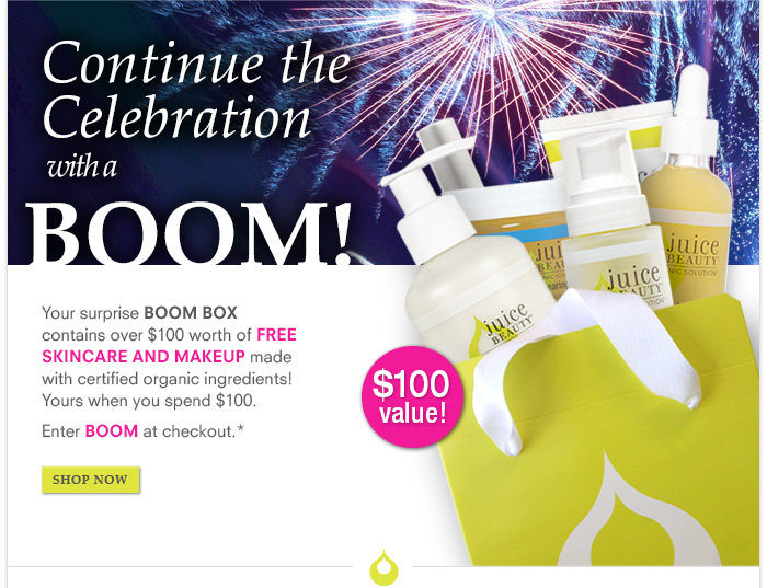 SURPRISE BOOM BOX - $100 VALUE! Yours when you spend $100. Enter code BOOM at checkout