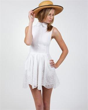 Saint Shylo Laser-Cut Pattern Solid Color Dress