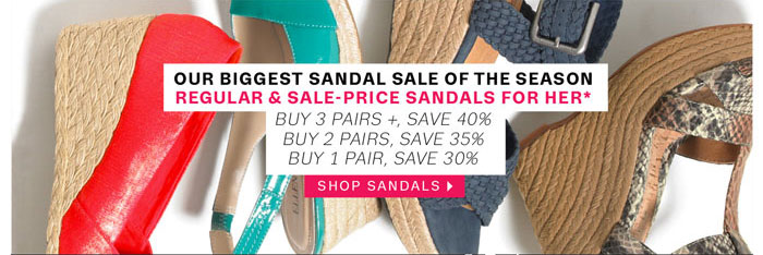 Our biggest sandal sale of the season. Shop Sandals.
