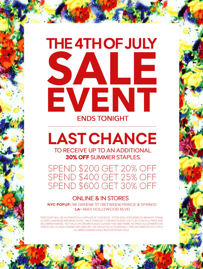 The 4th of July Sale Event Ends Tonight