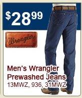 Wrangler Prewashed Jeans 28.99