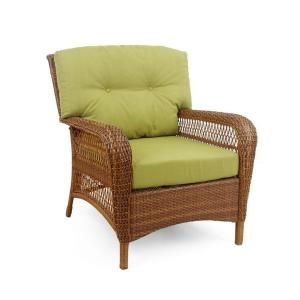 Charlottetown 2012 Brown All-Weather Wicker Patio Lounge Chair with Green Bean Cushions